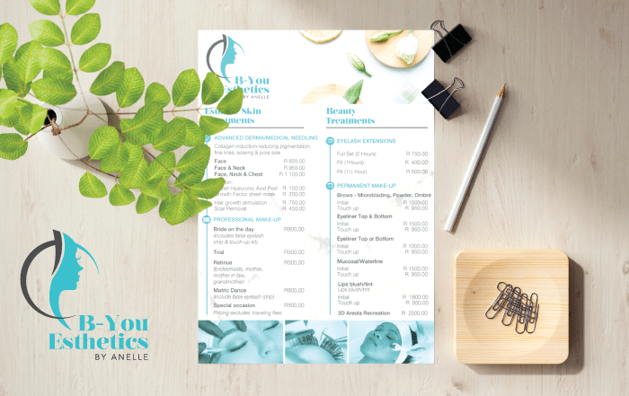Be You Esthetics Printed Leaflet